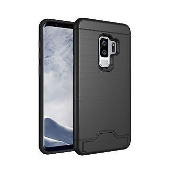 Für Samsung Galaxy S9 PLUS Fall, gebürstete Textur Abdeckung mit Kartenhalter, schwarz