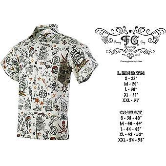 Funny Guy Mugs Mens Pirate Hawaiian Print Button Down, Pirate Grey, Size Large