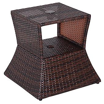 Outsunny Outdoor Patio Rattan Wicker Coffee Table Bistro Side Table with Umbrella Hole