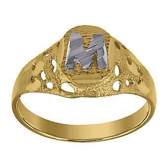 10k Two tone Gold baby voor jongens of meisjesLetter Naam Gepersonaliseerde Monogram Initial M Band Ring Maatregelen 7.5x2.20mm Wide S