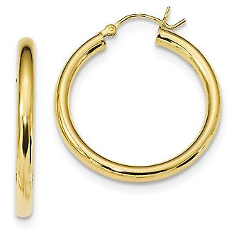 29.9mm 925 Sterling Silver Gold tone Polished Hoop Earrings Jewelry Gifts for Women - 4.3 Grams