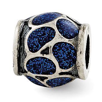 925 Reflejos de plata esterlina esmalte azul con brillos abalorios encanto colgante collar regalos de joyería para las mujeres