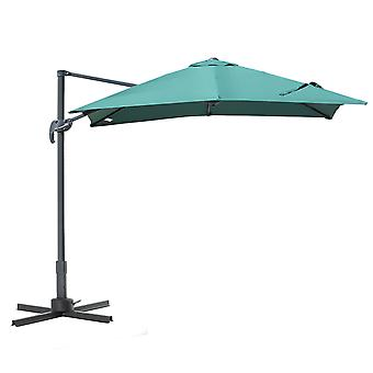 Outsunny 2.5 x 2.5m Patio Offset Parasol Umbrella Cantilever Hanging Sun Shade Canopy Shelter 360° Rotation with Cross Base - Green