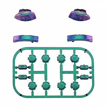 Full button set for nintendo switch joy-con controllers glossy replacement - chameleon green purple blue | zedlabz
