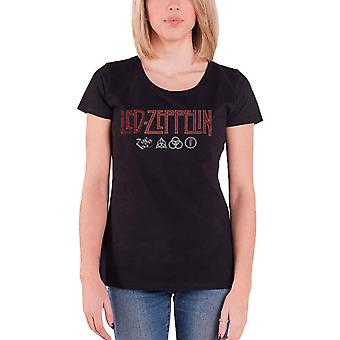 Led Zeppelin T Shirt Logo and Symbol new Official Womens Skinny Fit Black
