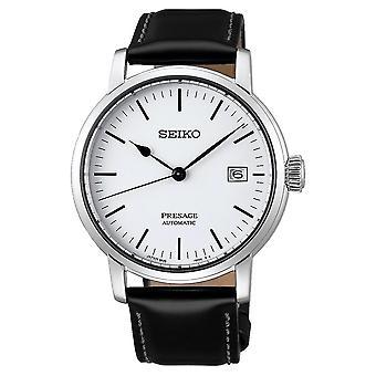 Seiko Spb113j1 Presage Men's Automatic White Enamel Watch With Black Leather Strap