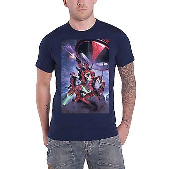Deadpool تي قميص Deadpool الأسرة الجديدة الرسمية الأعجوبة الرجال البحرية الأزرق