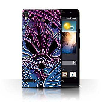 STUFF4 Case/Cover for Huawei Ascend P6/Blue/Pink/Henna Paisley Flower