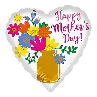 Anagram Happy Mothers Day! Blumen in Vase Herz geformt Satin Luxe Folie Ballon
