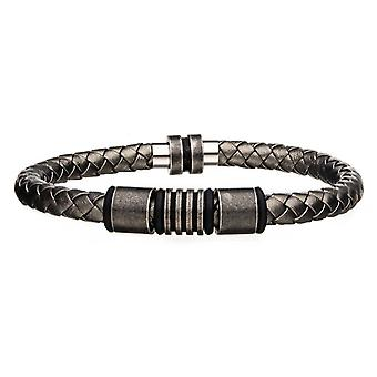 Men's Antique Bracelet in grey leather and stainless steel