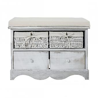 Furniture Rebecca Bench Bench 2 Wooden Drawers 2 White Wicker Bins 46x60x33
