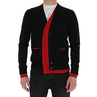 Alexander Mcqueen 610707q1alz1018 Men's Black Cotton Cardigan