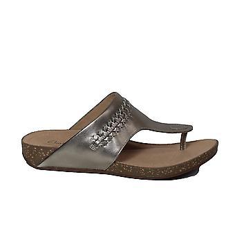 Clarks Un Perri Vibe Guld Metallic Läder Kvinnors Slip På Tå Post Sandaler