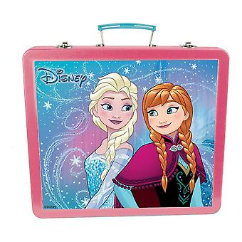 DISNEY Frozen Art Tin Case with 60pc Creative Accessories Kit Pink/Turquoise