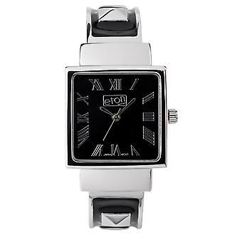Eton Womens Black Fashion Watch, Clip on Bangle, studs on bracelet - 3145L-BK