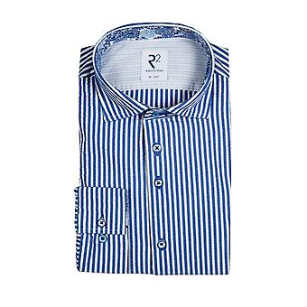 R2 Widespread Collar Long Sleeved Shirt Blue Stripe