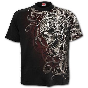 Spiral Skull Épaule Wrap Allover T-Shirt