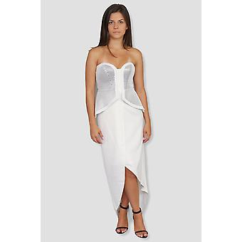 Strapless peplum white and silver dress