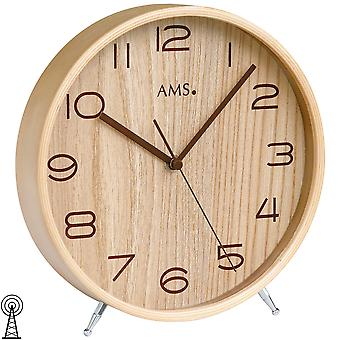 AMS 5118 Table clock funk wood natural colours with glass