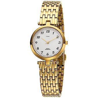 JOBO reloj de pulsera de mujer cuarzo analógico acero inoxidable chapado en oro
