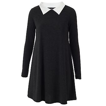 Dames Vlakte Peter Pan Collar Mini Jurk