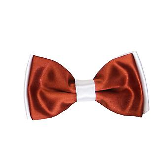 Boys Pre-tied Adjustable Neck Strap Kids Bowtie  In Sinopia Maroon and White