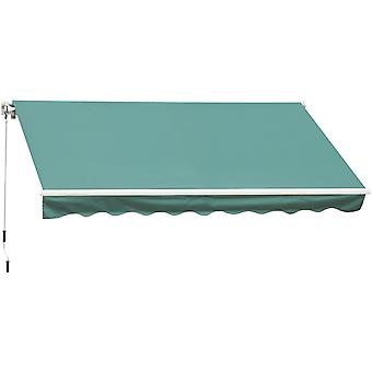 Outsunny 4m x 3(m) Garden Patio Manual Awning Canopy Sun Shade Shelter Retractable Green