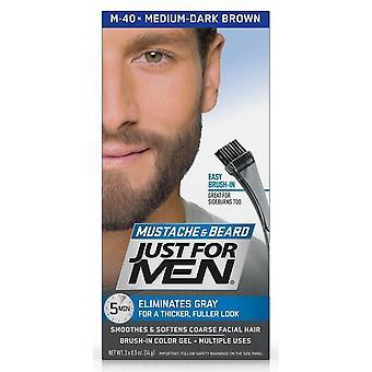Just for men brush-in color gel, medium dark brown m-40, 1 kit