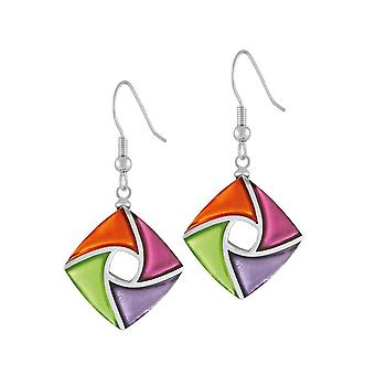Eternal Collection Kite Orange Pink Lilac And Green Silvered Resin Drop Pierced Earrings