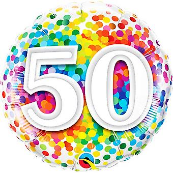 Qualatex 18 Inch Age 50 Rainbow Confetti Round Foil Balloon
