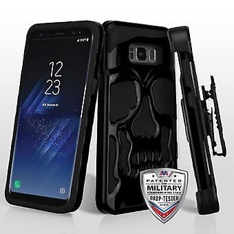 MYBAT Jet Black/Black Skullcap Hybrid Casew/ Holster  for Galaxy S8 Plus