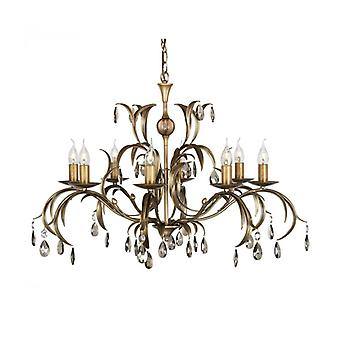Lily Pendant Light, Antique Bronze And Glass, 8 Bulbs