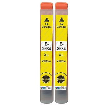 2 gule blekkpatroner for å erstatte Epson T2634 (26XL-serien) Kompatibel/ikke-OEM fra Go-blekk