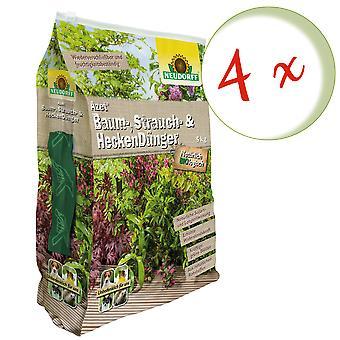 Sparset: 4 x NEWDORFF Azet® tree, shrub and hedge fertilizer, 5 kg