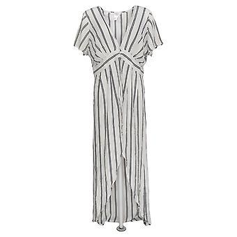 K Jordan Women's Short Sleeves Striped Flyaway Top Black/White