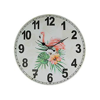 Tropical Pink Flamingo and Hibiscus Flower 16 Inch Diameter Round Wall Clock