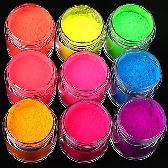 neon pigment pulver fluorescens spiker glitter - sommer shinny støv ombre