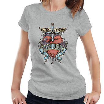 Bon Jovi sydän ja Dagger naisten T-paita