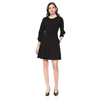 Brand - Lark & Ro Women's Gathered 3/4 Sleeve Crew Neck Fit and Flare Dress with Pockets, Black, 12