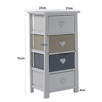 Rebecca Furniture Bedside Tables White Grey Beige Chest of Drawers 4 Drawers 73x37x27