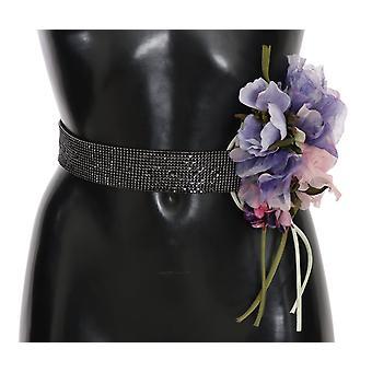 דולצ ' ה & החגורה שחור קריסטל פליז פרח רחב המותניים--SMY2192752
