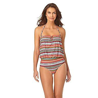 Anne Cole Women's Blousson One Piece Swimsuit, Jet Set Stripe, 12