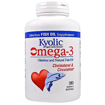 Kyolic, Aged Garlic Extract,  Omega-3,  Cholesterol & Circulation, 180 Omega-3 S