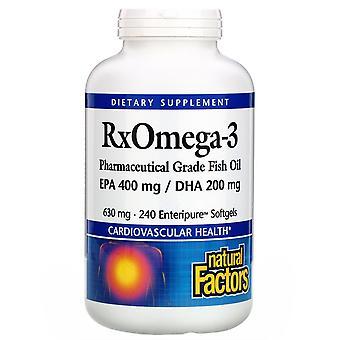Natürliche Faktoren, Rx Omega-3 Faktoren, EPA 400 mg/DHA 200 mg, 240 Softgels