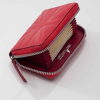 Red Britannia leather accordion card case