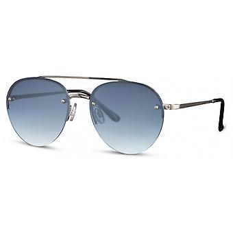 Zonnebril unisex panto kat. 3 zilver/blauw