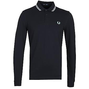 Fred Perry Twin Tipped Navy Long Sleeve Polo Shirt