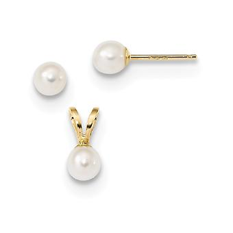 14k pour les garçons ou les filles 4 5mm Blanc Freshwater CultureD Pearl Pendant Necklace and Earrings Set