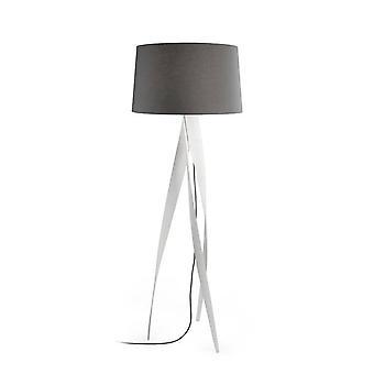 1 Light Floor Lamp White with Black Fabric Short Shade, E27