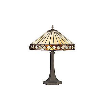 Luminosa-valaistus - 2 vaaleaa kahdeksankulmaista pöytävalaisinta E27 40cm Tiffany Shadella, keltainen, kristalli, ikääntynyt antiikki messinki